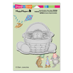 CLING BUNNY BASKET - Our Newest House-Mouse Designs® Cling rubber stamps