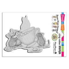 Cling Sharing A Sip Stamp - Our Newest House-Mouse Designs® Cling rubber stamps