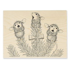 Pine Carolers Rubber Stamp