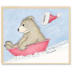 Gruffies® -  Beary Fast Sled - Gruffies® Rubber Stamps