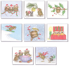 8 Assorted Christmas/Holiday Magnets matching CC-13 - House-Mouse Designs® Christmas Cards