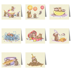 8 New Ass't Note Cards/8 envs - House-Mouse Designs® Assorted Packages of 8 Note cards