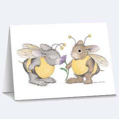 8 Buzzy Friends Notecards/Envs - House Mouse HappyHoppers Notecards