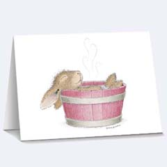8 Bunny Bath Notecards /Envs - House Mouse HappyHoppers Notecards