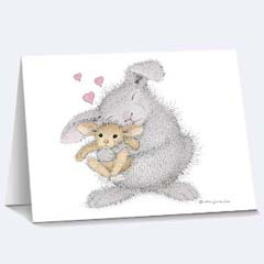 8 Love Bunny Notecards /Envs - House Mouse HappyHoppers Notecards